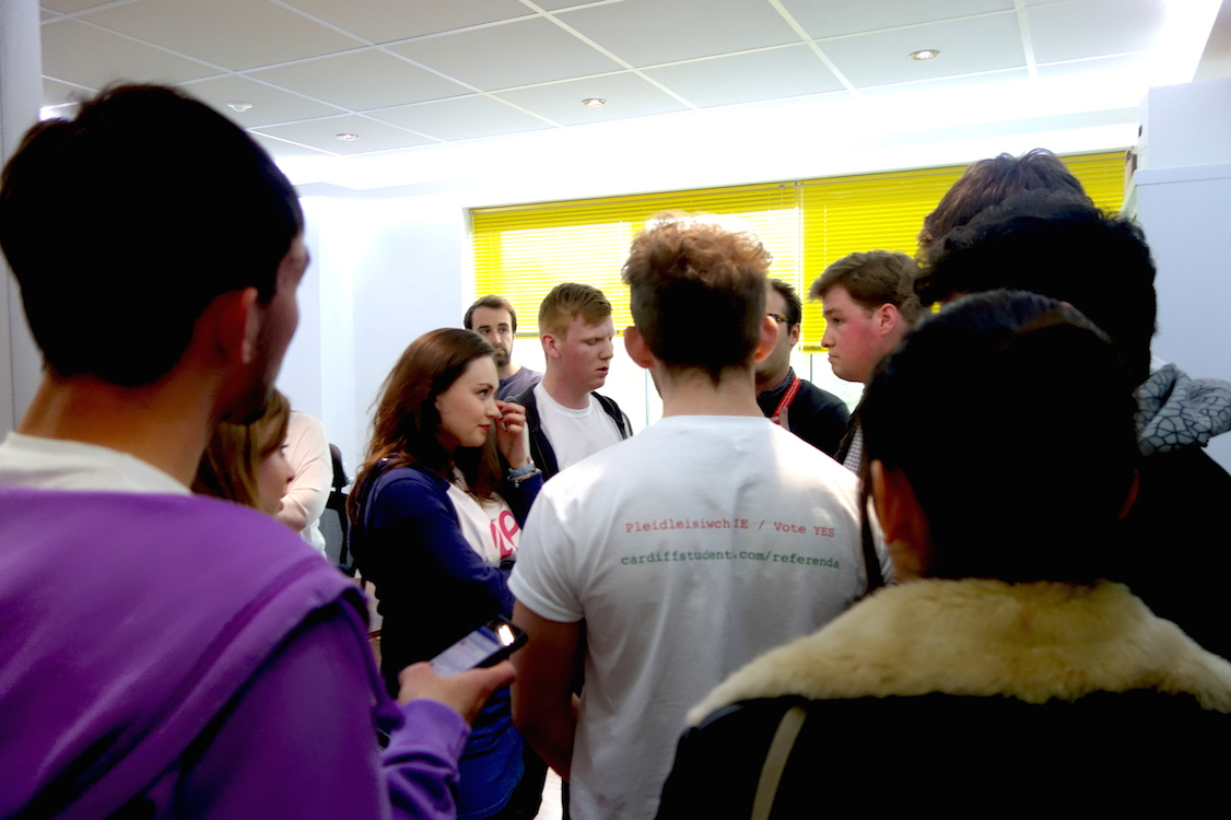 Members of the 'Yes' campaign confront sabbatical officers in wake of result