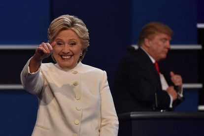 Clinton leaves third and final US Presidential election debate (source: AFP/GETTY images)