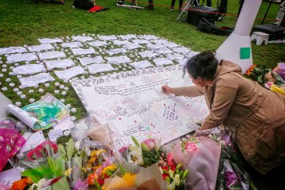 Photos taken at the memorial site for Jo Cox MP at Parliament Square in London Photo credit: Garry Knight