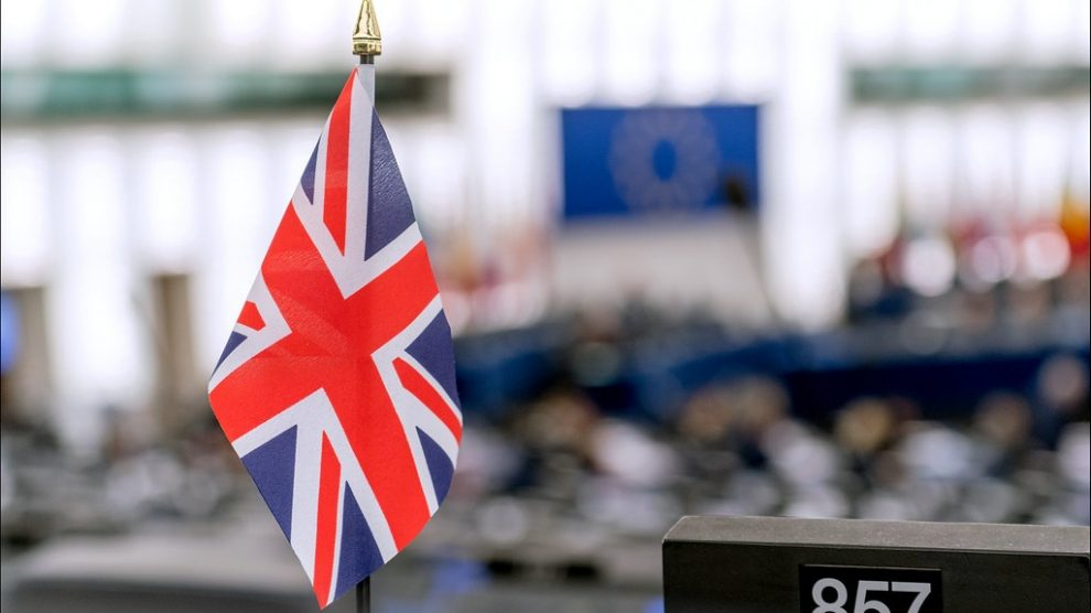 A UK flag at the European Parliament, where the UK floats towards a no-deal Brexit.