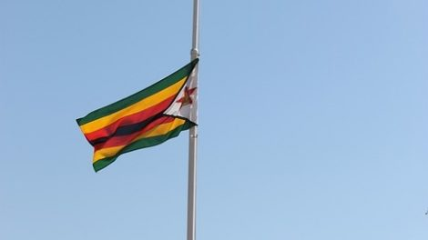 The Zimbabwean flag; the country is in turmoil.