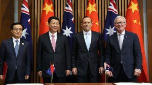 Tony Abbott, who has joined the UK Board of Trade, signs a free trade agreement with China.