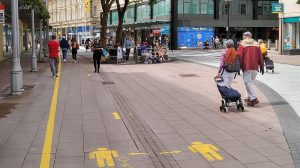 Queen Street floor markings is the way we now live normal life