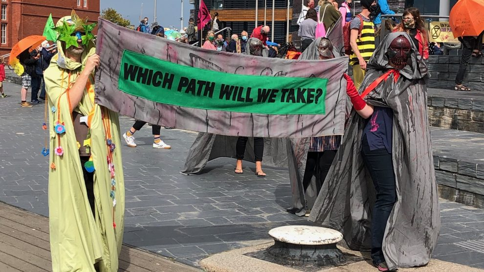 protestors from Extinction Rebellion in Cardiff