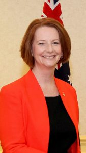Julia Gillard, who has criticised Tony Abbott, who has been appointed to the UK Board of Trade.