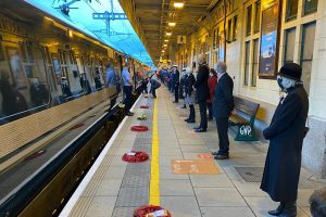 Remembrance service at Cardiff Central station