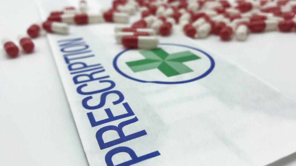 antibiotics and prescription bag
