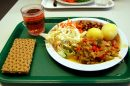 """A school lunch – the government has under fire for providing """"woefully inadequate"""" food parcels."""
