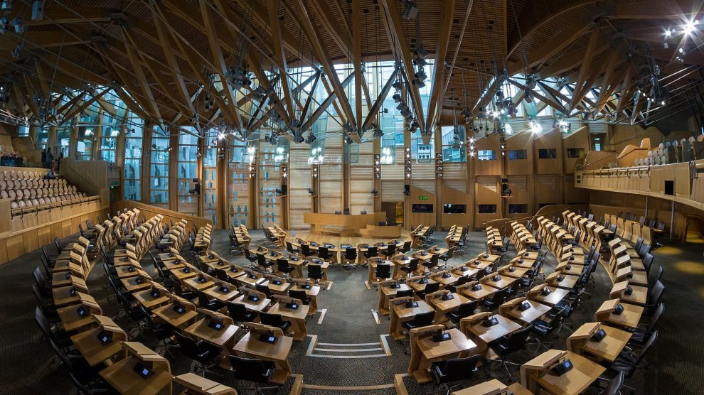 The Scottish Parliament building at Holyrood.