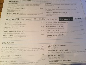 the small plates menu at 29 Park Place