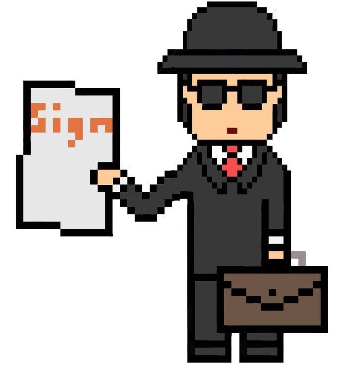 smuggler agent sign pixel art casting agent extra cinema