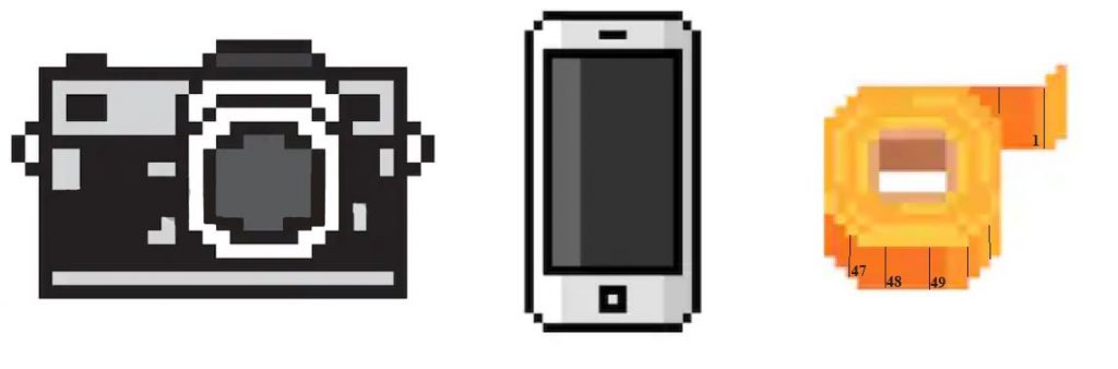camera phone and measuring tape pixel art what you need to be an extra