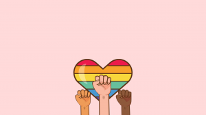A heart decorated with rainbow stripes is surrounded by three fists in the air all with different skin tones. This is on a pale pink background.