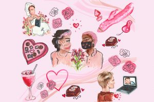 A couple wearing masks are in tehe centre of the pages with flowers between them. They are surrounded by images of a girl in a bathrobe reading, a pink dildo, a heart shaped box of chocolates, roses, a cocktail and a gay couple on a video call