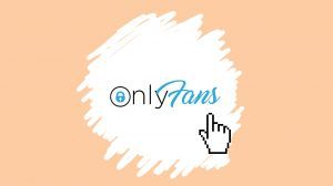 OnlyFans icon with computer hand icon over it on a light beige background
