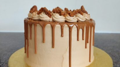 Biscoff cake with a biscoff drip to show the cakes these tips can create.