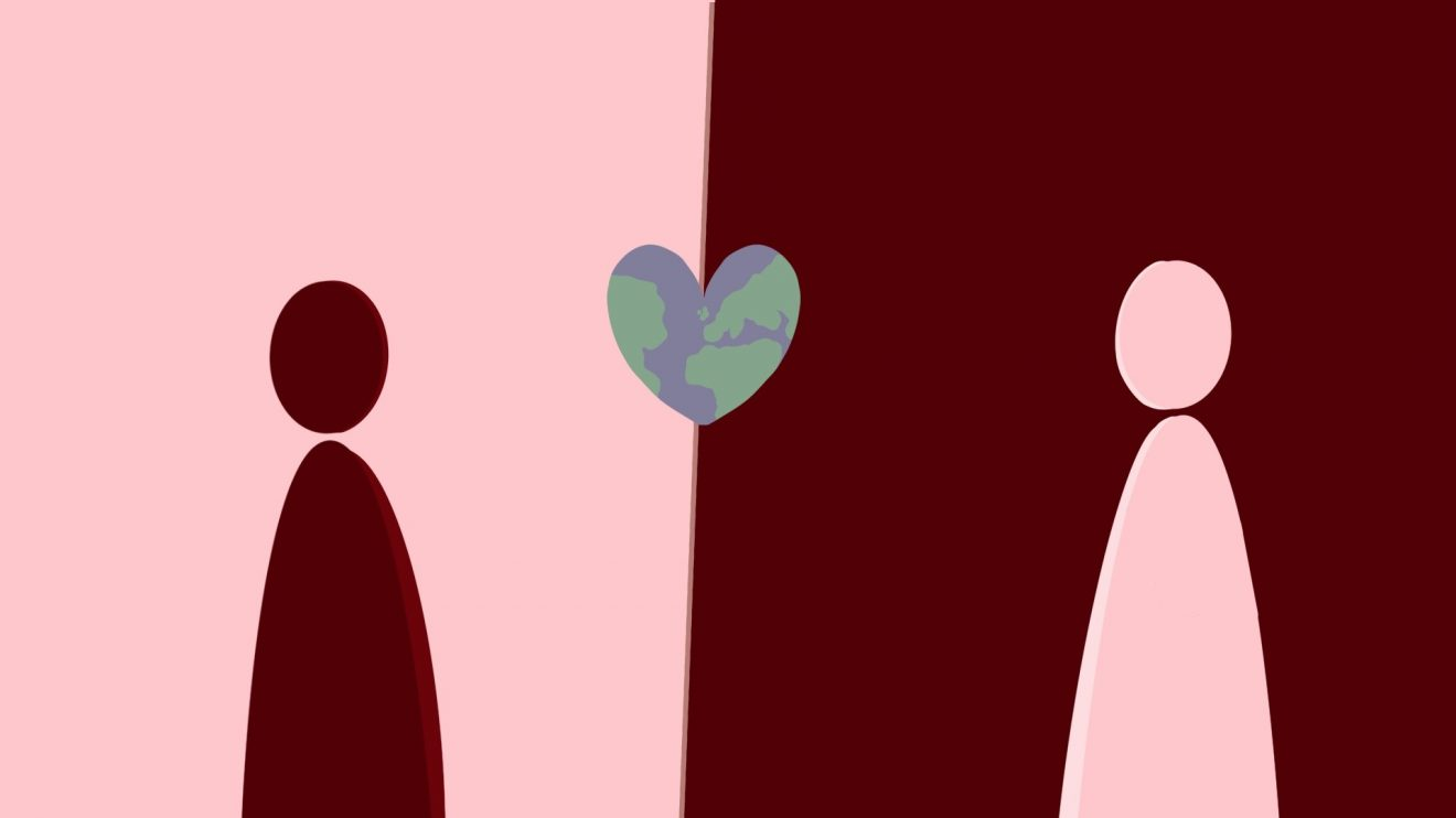 Two cartoon silohuettes one pink and one dark red against backgrounds in the opposing colour with a small heart in between them with the pattern of the Earth on it.