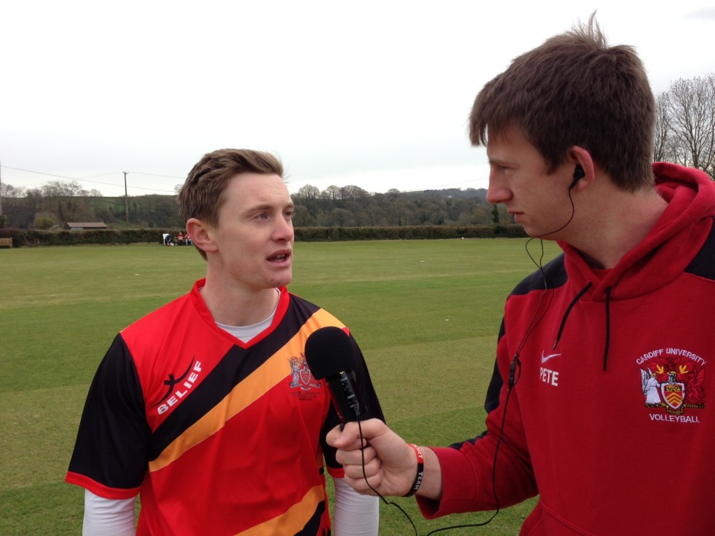 Xpress commentator Pete Robertson chatting to Cardiff Captain Tom Williams pre-game.